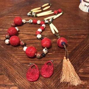 Lot of cinnabar vintage jewelry